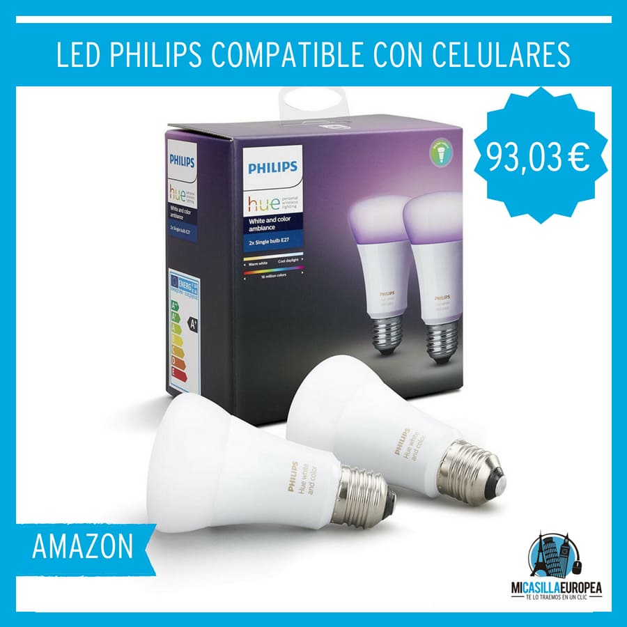 Philips Hue White and Color Ambiance - Pack de 2 bombillas LED E27, 9,5 W, iluminación inteligente, 16 millones de colores, compatible con Apple HomeKit y Google Home