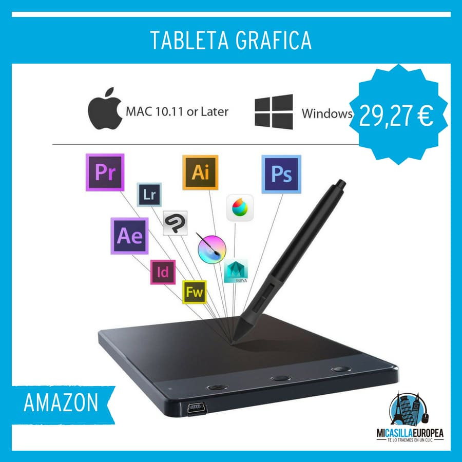 Tableta Gráfica con 3 Teclas Express Compatible con Windows y Mac